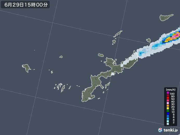 沖縄県の雨雲レーダー(2020年06月29日)
