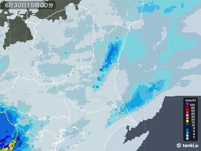 茨城県の雨雲レーダー(2020年06月30日)