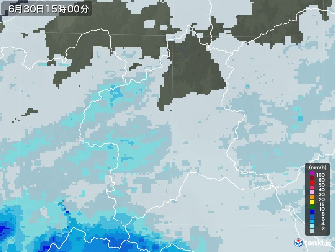 群馬県の雨雲レーダー(2020年06月30日)