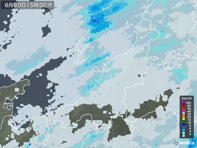 新潟県の雨雲レーダー(2020年06月30日)