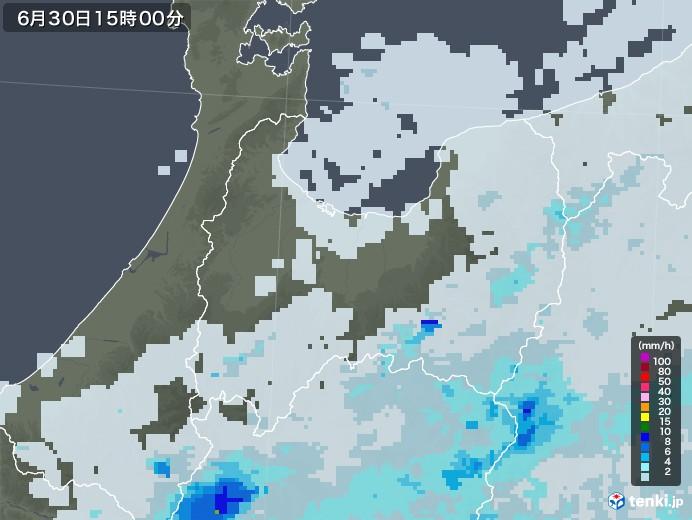 富山県の雨雲レーダー(2020年06月30日)