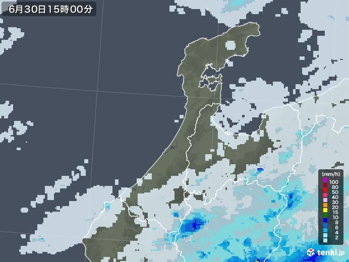 石川県の雨雲レーダー(2020年06月30日)