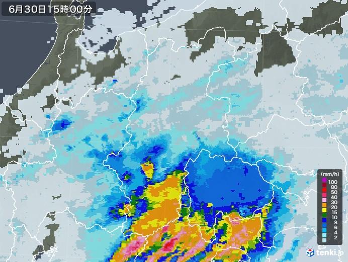 長野県の雨雲レーダー(2020年06月30日)
