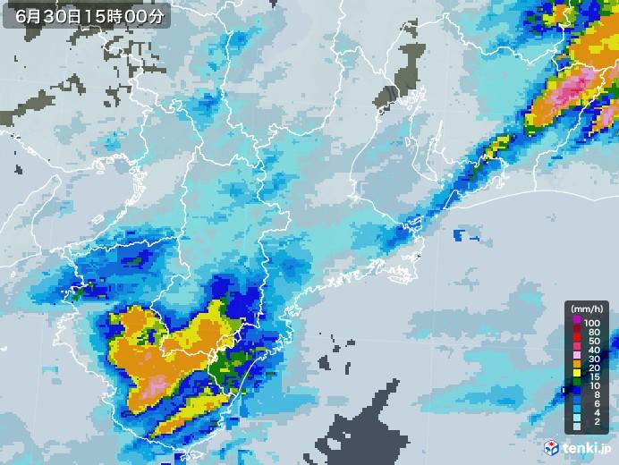 三重県の雨雲レーダー(2020年06月30日)