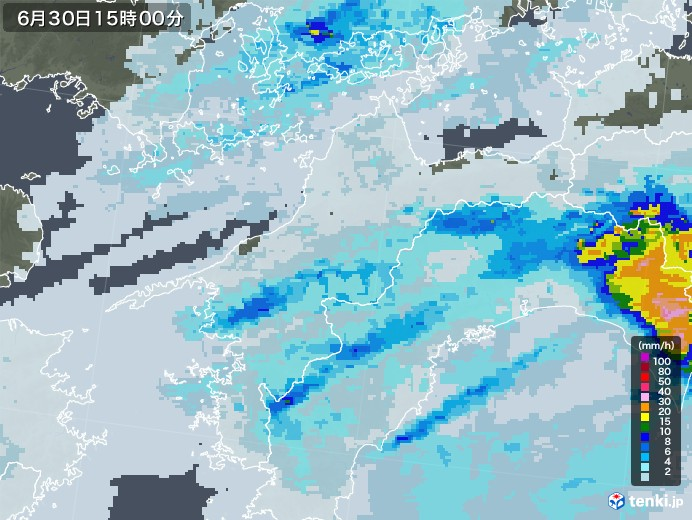 愛媛県の雨雲レーダー(2020年06月30日)