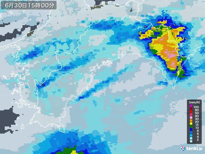 高知県の雨雲レーダー(2020年06月30日)