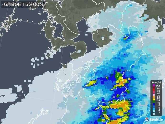 熊本県の雨雲レーダー(2020年06月30日)