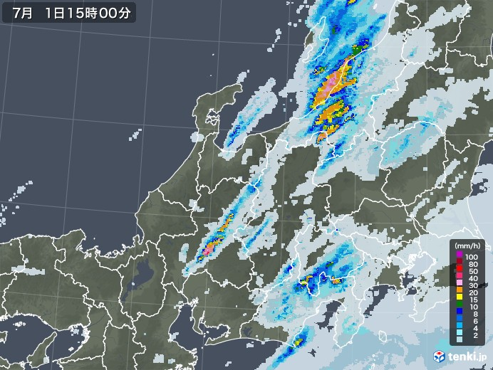 北陸地方の雨雲レーダー(2020年07月01日)