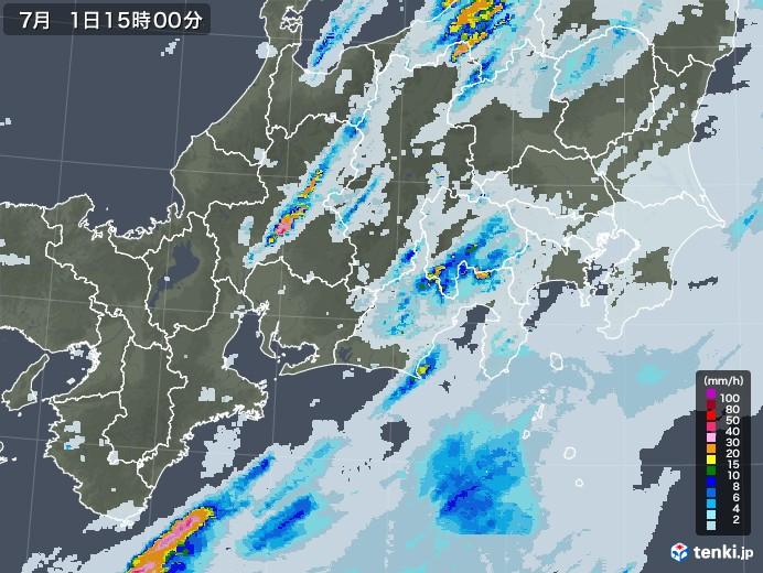 東海地方の雨雲レーダー(2020年07月01日)