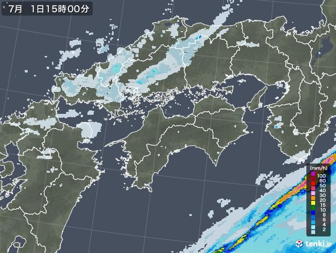 四国地方の雨雲レーダー(2020年07月01日)