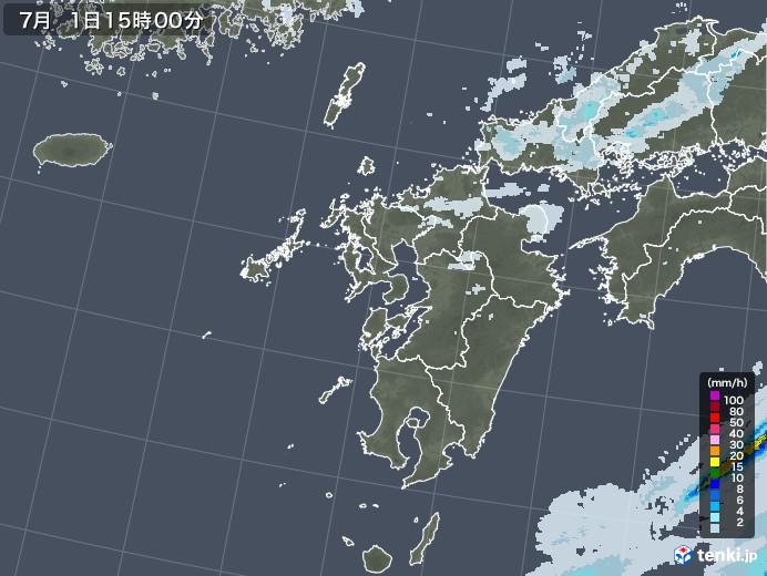 九州地方の雨雲レーダー(2020年07月01日)