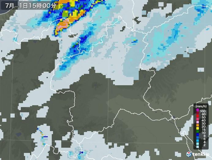 群馬県の雨雲レーダー(2020年07月01日)