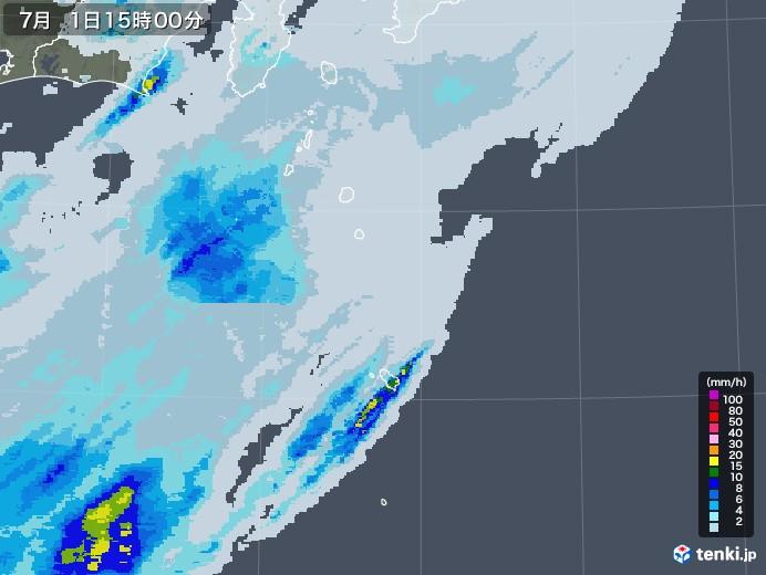 伊豆諸島(東京都)の雨雲レーダー(2020年07月01日)