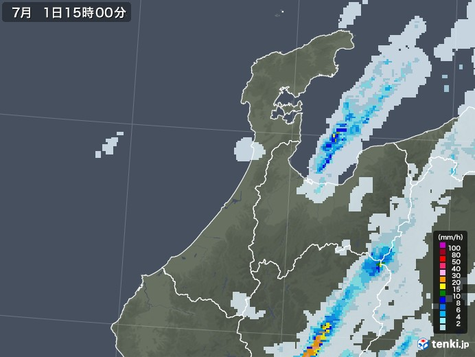 石川県の雨雲レーダー(2020年07月01日)