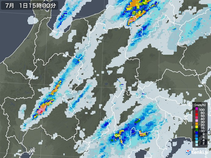 長野県の雨雲レーダー(2020年07月01日)