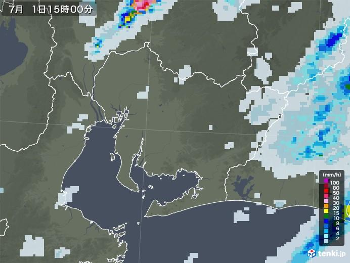 愛知県の雨雲レーダー(2020年07月01日)