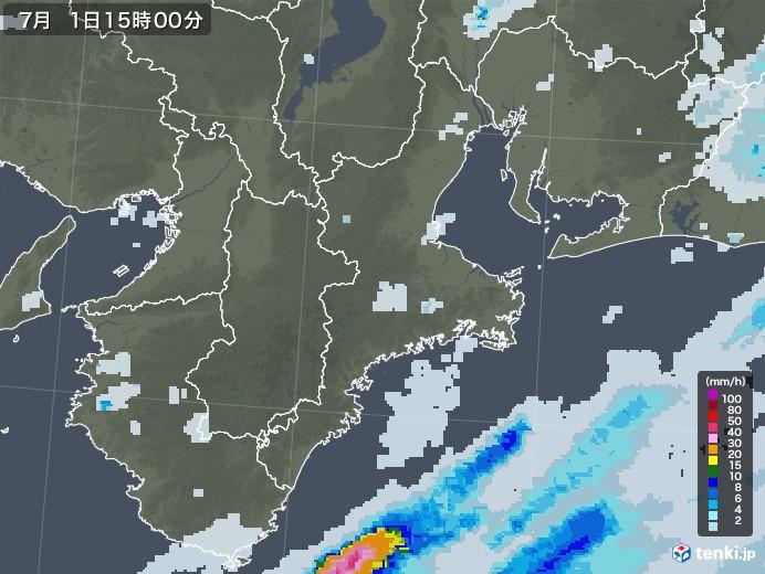 三重県の雨雲レーダー(2020年07月01日)