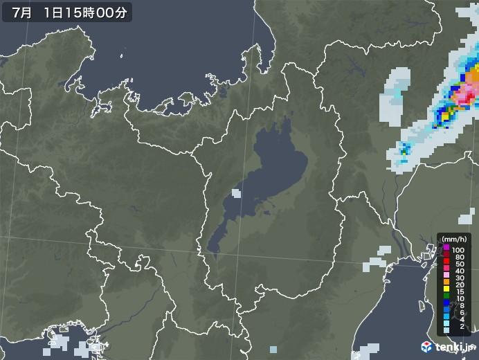 滋賀県の雨雲レーダー(2020年07月01日)