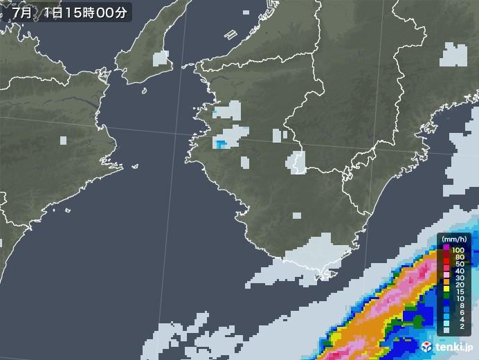 和歌山県の雨雲レーダー(2020年07月01日)