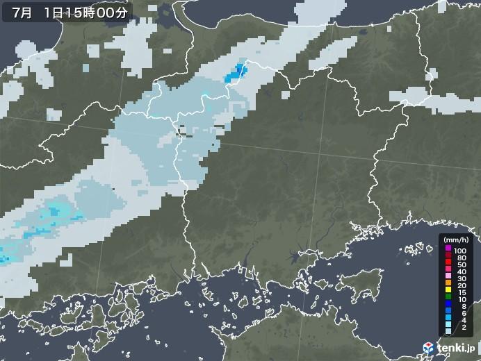 岡山県の雨雲レーダー(2020年07月01日)