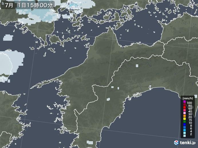 愛媛県の雨雲レーダー(2020年07月01日)