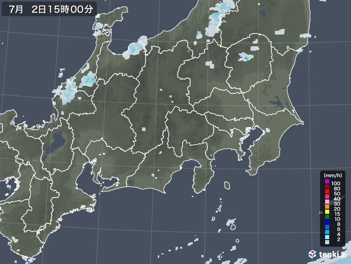 関東・甲信地方の雨雲レーダー(2020年07月02日)