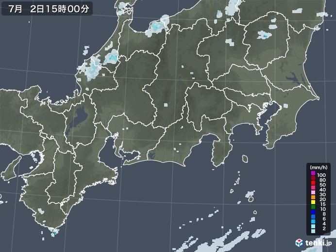 東海地方の雨雲レーダー(2020年07月02日)