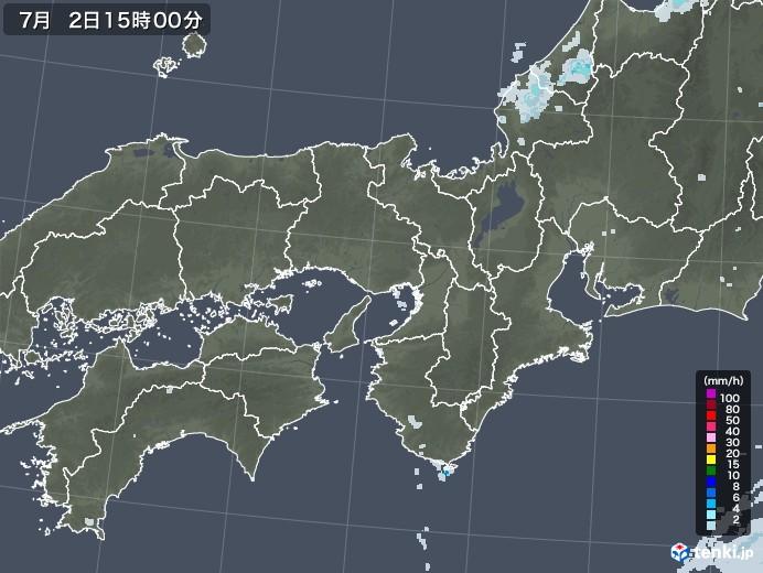 近畿地方の雨雲レーダー(2020年07月02日)