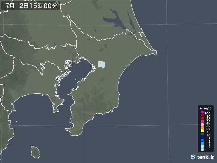 千葉県の雨雲レーダー(2020年07月02日)