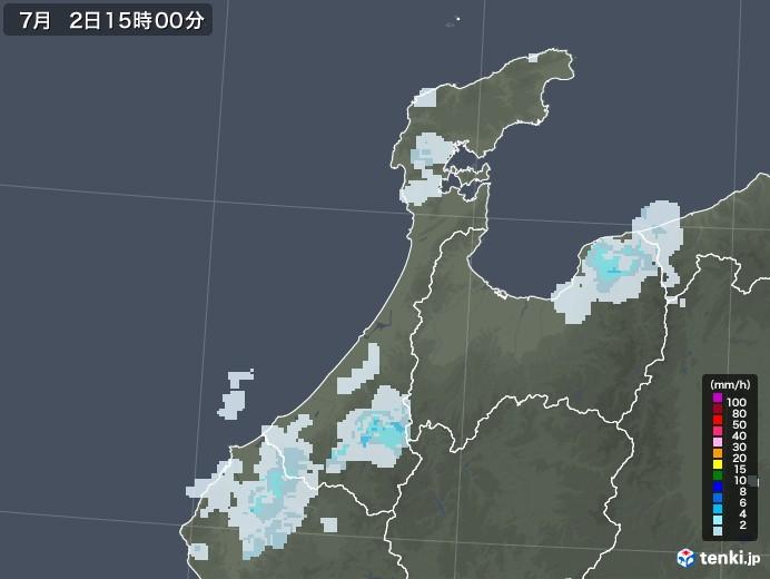 石川県の雨雲レーダー(2020年07月02日)