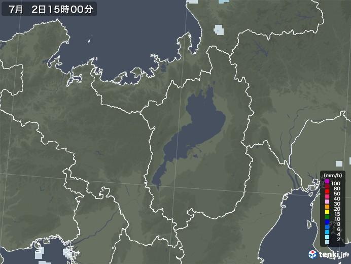滋賀県の雨雲レーダー(2020年07月02日)