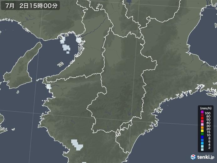 奈良県の雨雲レーダー(2020年07月02日)