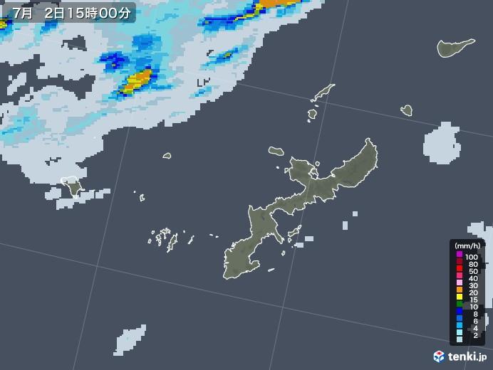 沖縄県の雨雲レーダー(2020年07月02日)