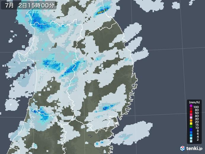 岩手県の雨雲レーダー(2020年07月02日)