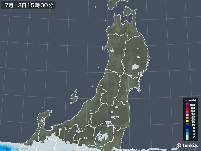 東北地方の雨雲レーダー(2020年07月03日)
