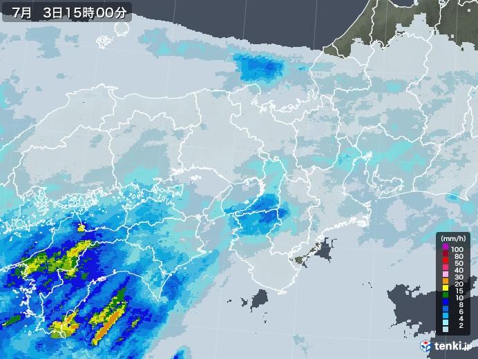 近畿地方の雨雲レーダー(2020年07月03日)