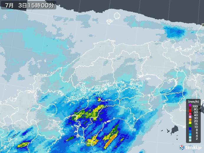 中国地方の雨雲レーダー(2020年07月03日)