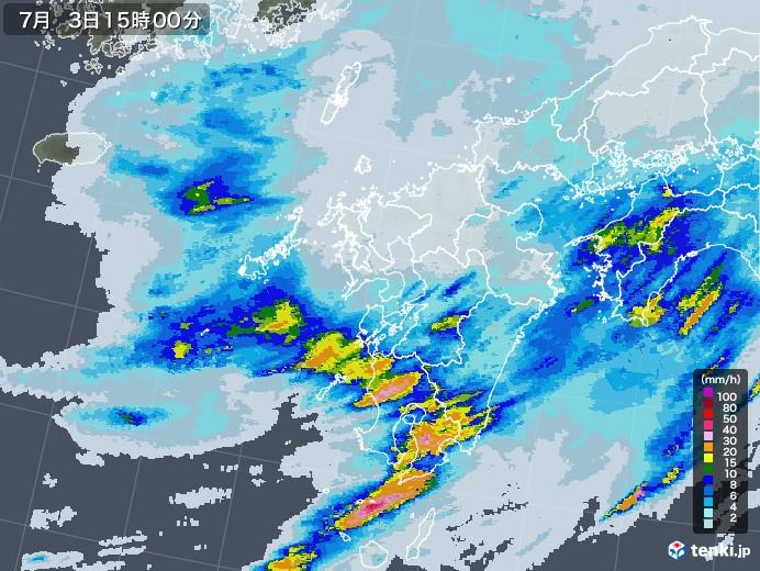 九州地方の雨雲レーダー(2020年07月03日)