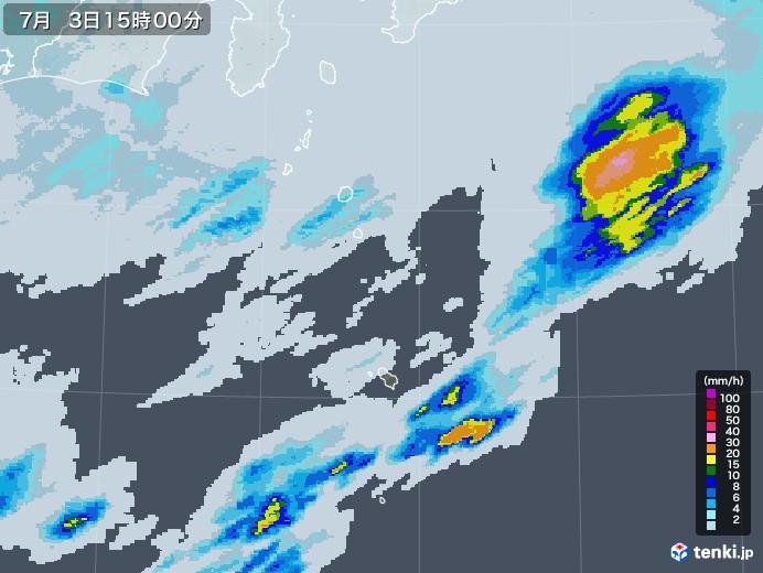 伊豆諸島(東京都)の雨雲レーダー(2020年07月03日)