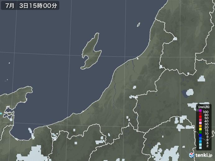 新潟県の雨雲レーダー(2020年07月03日)