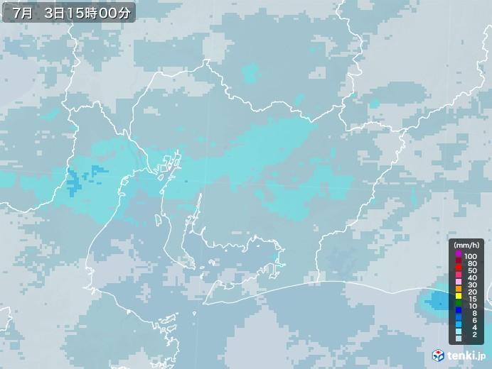愛知県の雨雲レーダー(2020年07月03日)