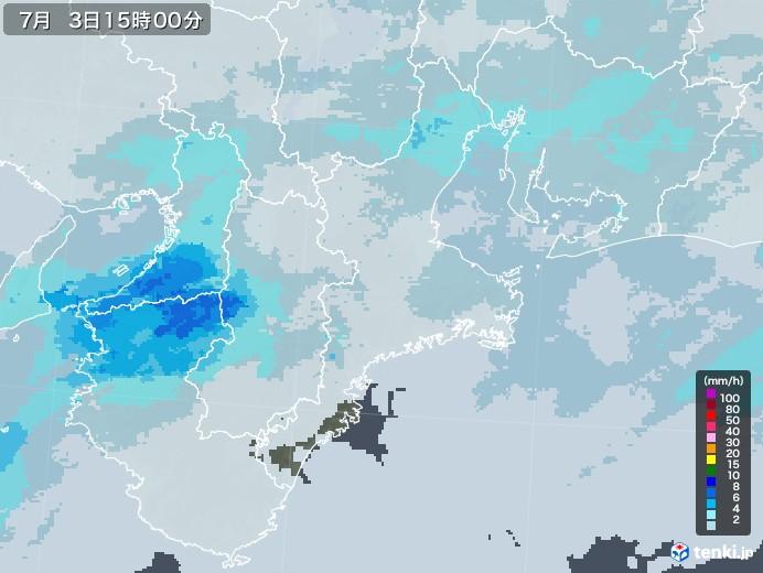 三重県の雨雲レーダー(2020年07月03日)