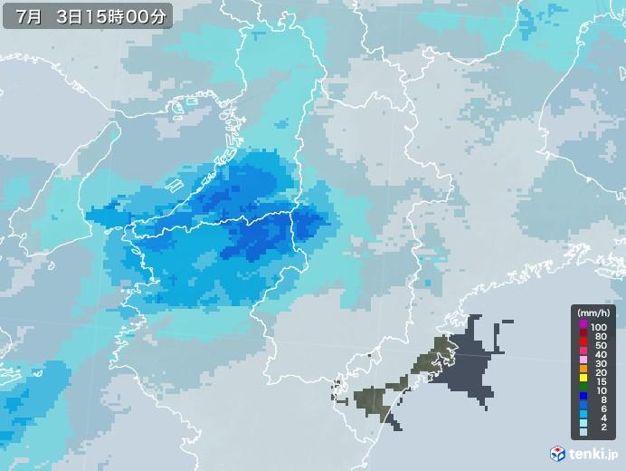 奈良県の雨雲レーダー(2020年07月03日)