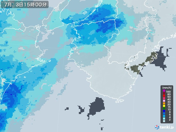和歌山県の雨雲レーダー(2020年07月03日)