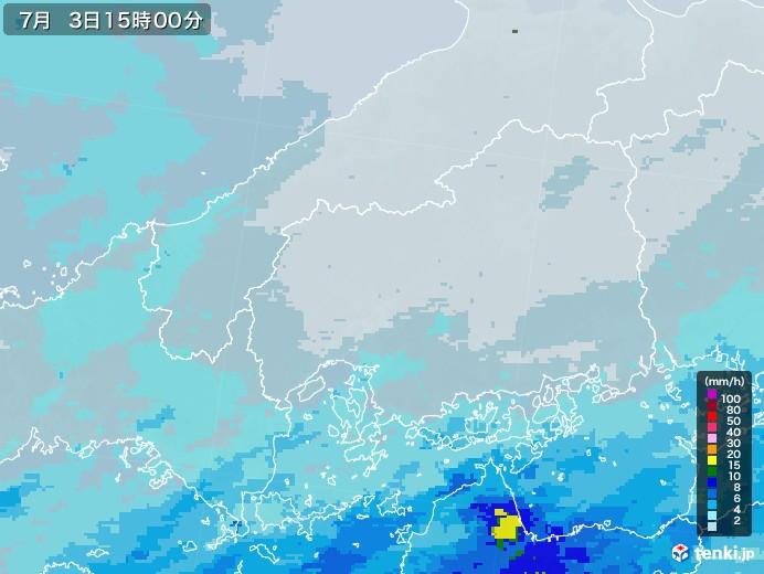 広島県の雨雲レーダー(2020年07月03日)