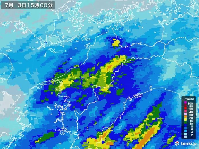 愛媛県の雨雲レーダー(2020年07月03日)