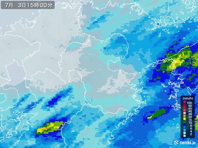 大分県の雨雲レーダー(2020年07月03日)