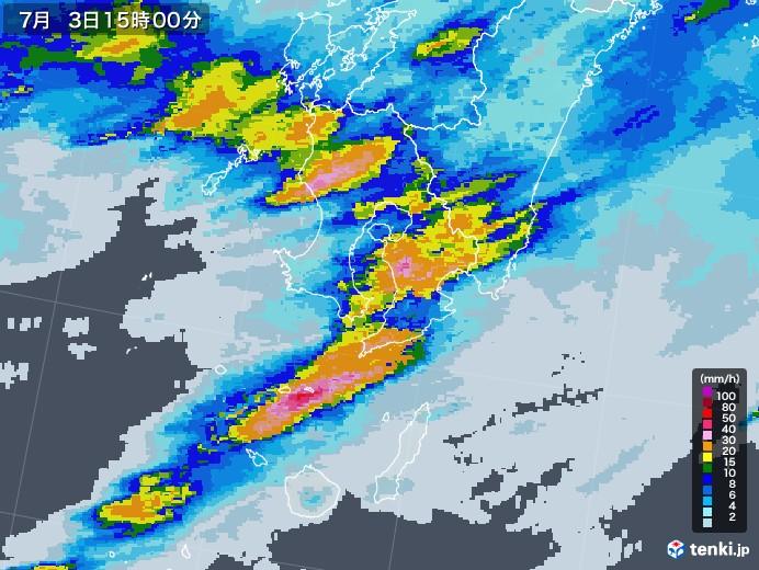 鹿児島県の雨雲レーダー(2020年07月03日)