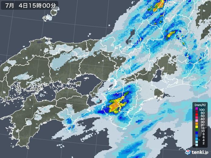 近畿地方の雨雲レーダー(2020年07月04日)