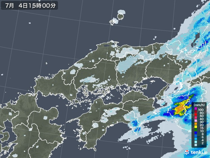 中国地方の雨雲レーダー(2020年07月04日)